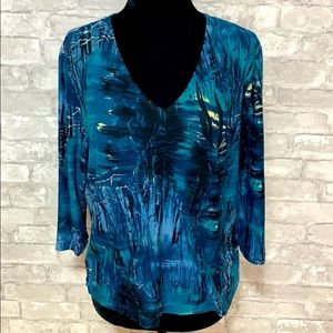 Soft works petite blue and green Long sleeve